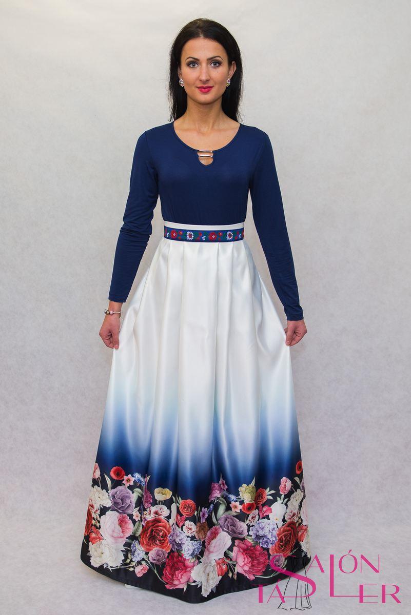255df2a3ad ... Dlhá sukňa kvety na modrom z dielne KTD STYLE