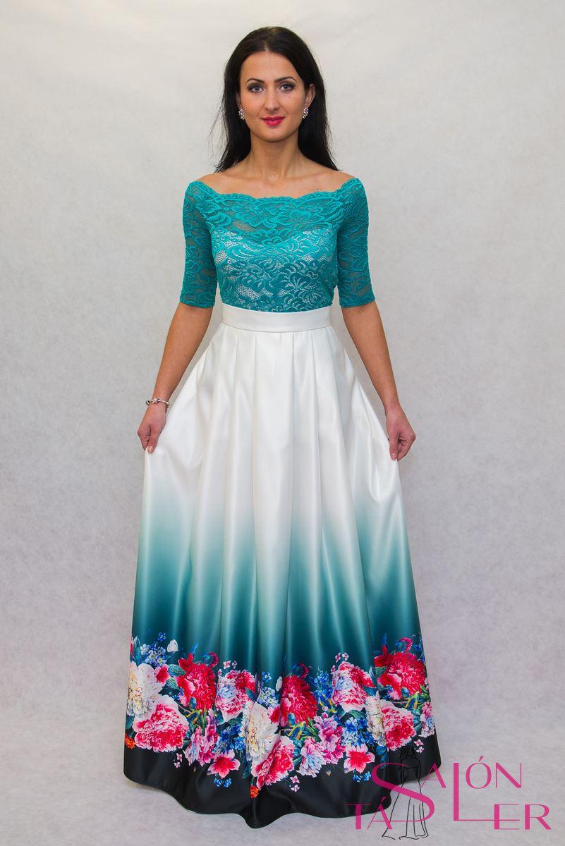 61ea50d770 ... Dlhá sukňa kvety na smaragde z dielne KTD STYLE