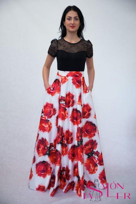 Maxi kruhová sukňa ČERVENÉ RUŽE z dielne KTD STYLE