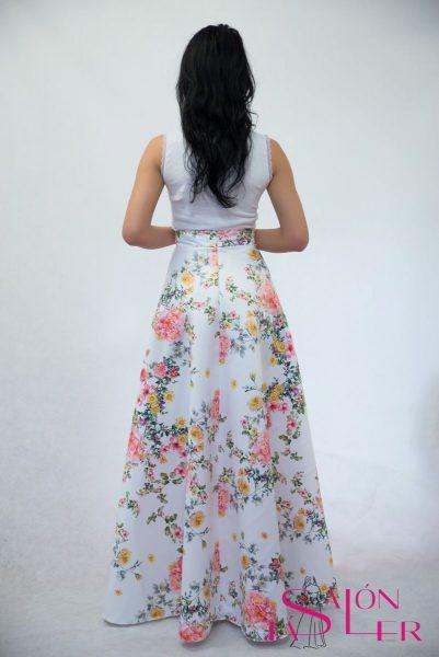 Kruhová sukňa z hrubého potlačeného saténu Lúka z dielne KTD STYLE