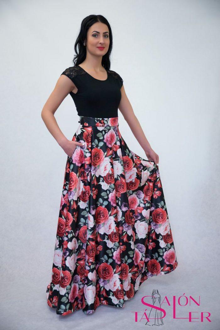 Spoločenská kruhová sukňa z hrubého potlačeného saténu,salón tásler