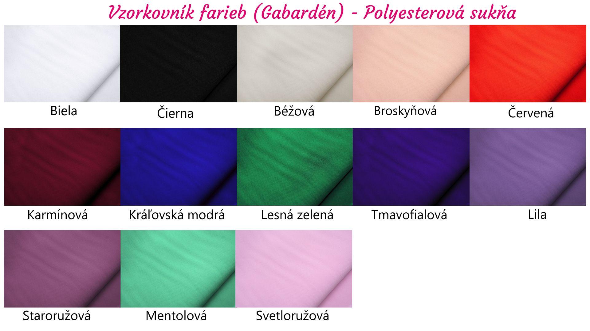 Polyesterová elegantná sukňa,vzorkovnik farieb,salón tásler