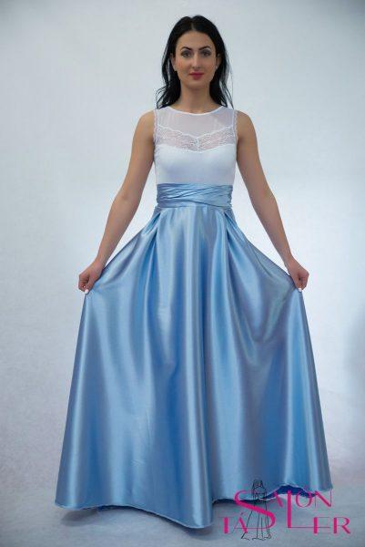 Kruhová saténová sukňa-nazberaný pás z dielne KTD STYLE