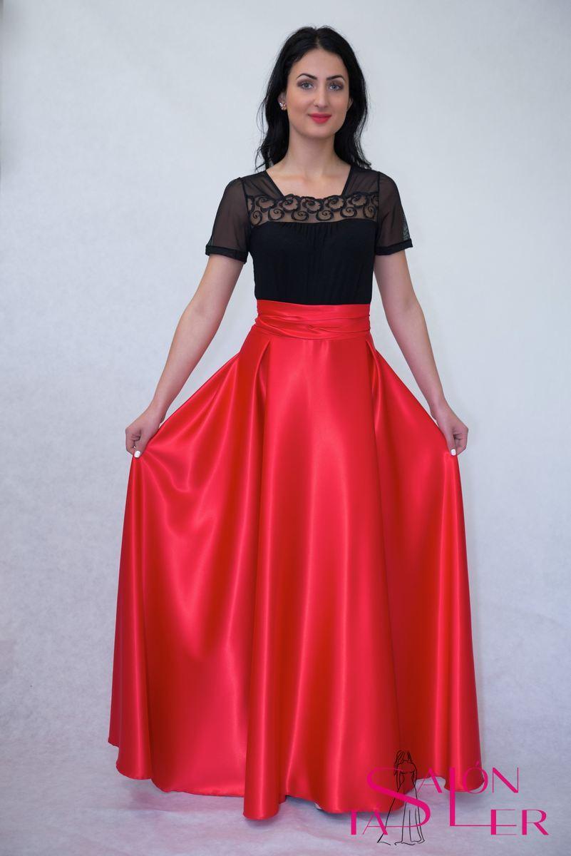 Kruhová saténová sukňa-nazberaný pás z dielne KTD STYLE  8655470f79b