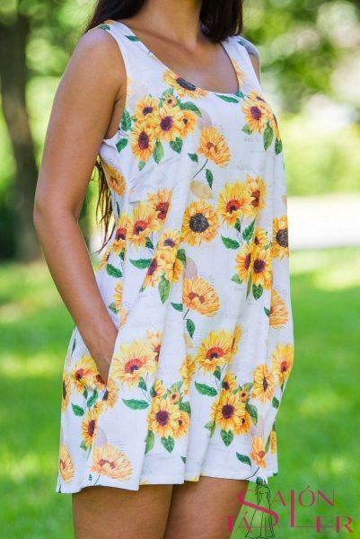 Áčkové šaty Slnečnice zdielne KTD STYLE