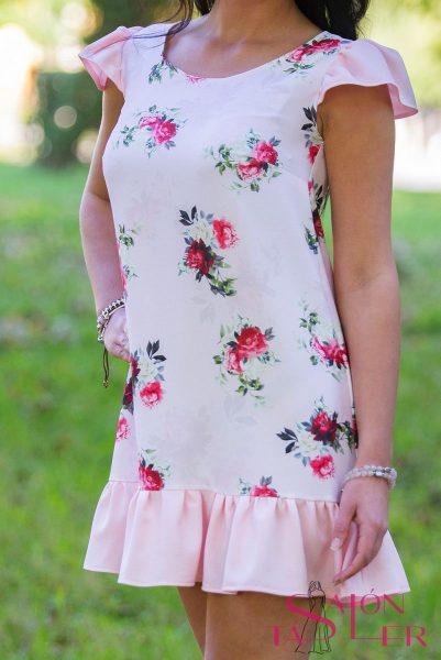 Vzorované šaty s volánom zdielne KTD STYLE