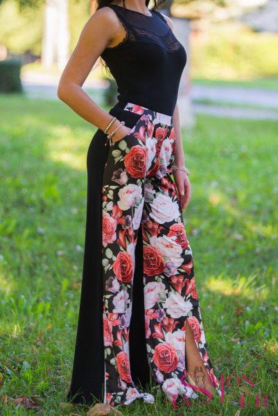Dvojfarebné nohavice čierno-kvetované zdielne KTD STYLE