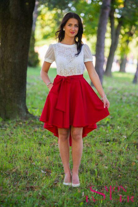 Kruhová sukňa s vreckami a zaväzovaním v páse z dielne KTD STYLE