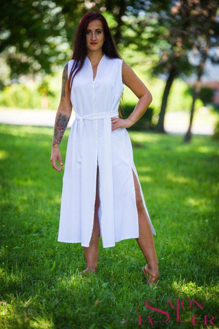 Kimono dlhé biele zdielne KTD STYLE