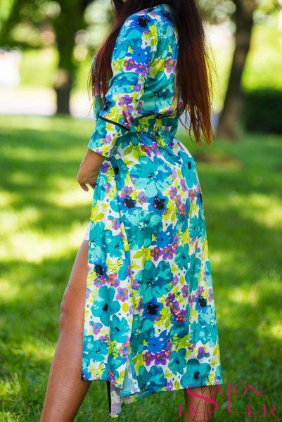 Kimono dlhé zeleno-tyrkysový kvet zdielne KTD STYLE