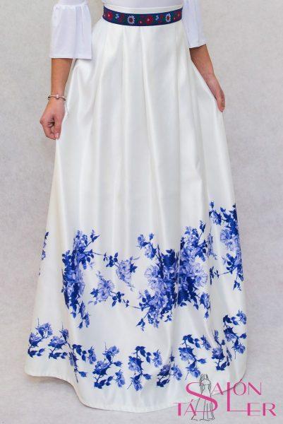 Dlhá sukňa modrý kvet z dielne KTD STYLE