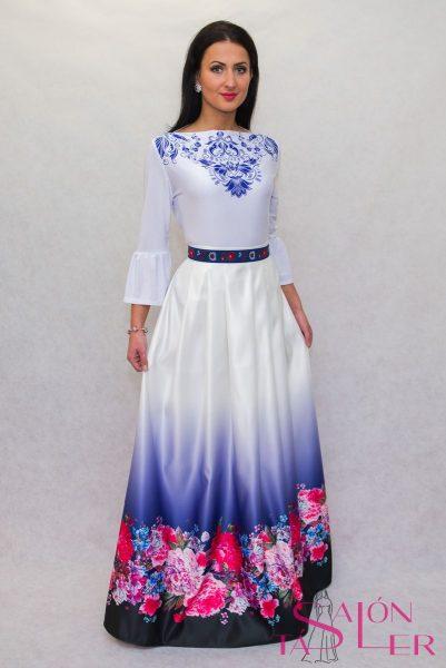 Opasok modrý s folklórnou bordúrou značky KTD STYLE
