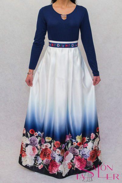 Dlhá sukňa kvety na modrom z dielne KTD STYLE