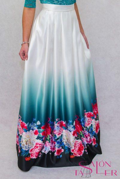 Dlhá sukňa kvety na smaragde z dielne KTD STYLE