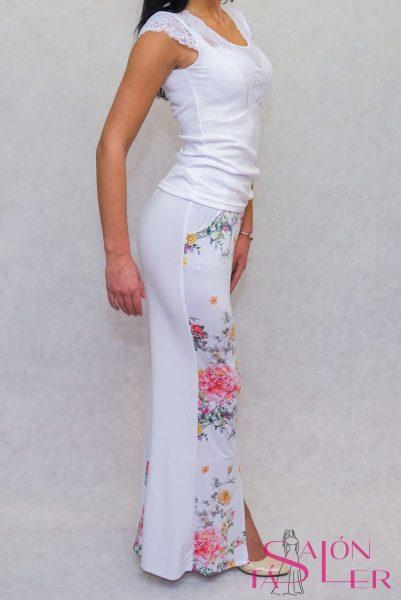 Dvojfarebné nohavice bielo-kvetované zdielne KTD STYLE