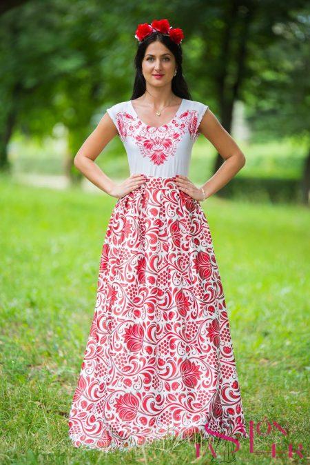 Dlhá sukňa s červeným folklórnym vzorom z dielne KTD STYLE