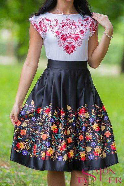 Midi sukňa malé kvety z dielne KTD STYLE