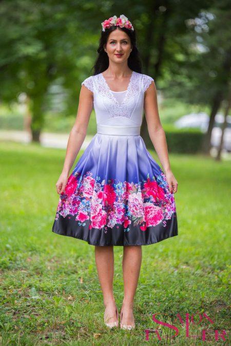 Midi sukňa kvety na fialovom z dielne KTD STYLE