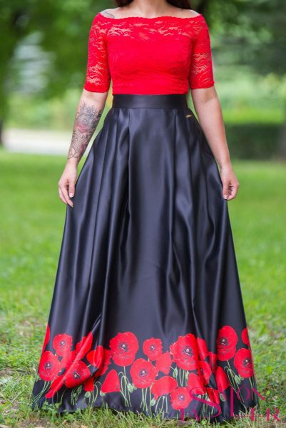 Dlhá sukňa divé maky z dielne KTD STYLE