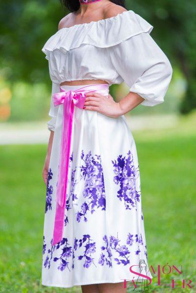 Midi sukňa fialový kvet z dielne KTD STYLE