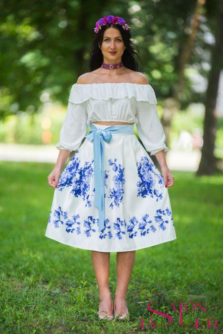 Midi sukňa modrý kvet z dielne KTD STYLE