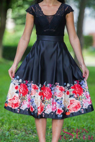 Midi sukňa veľké kvety z dielne KTD STYLE