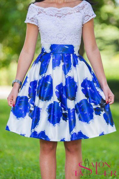 Mini kruhová sukňa MODRÉ RUŽE z dielne KTD STYLE