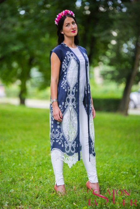 Vyšívané kimono dlhé modré zdielne KTD STYLE