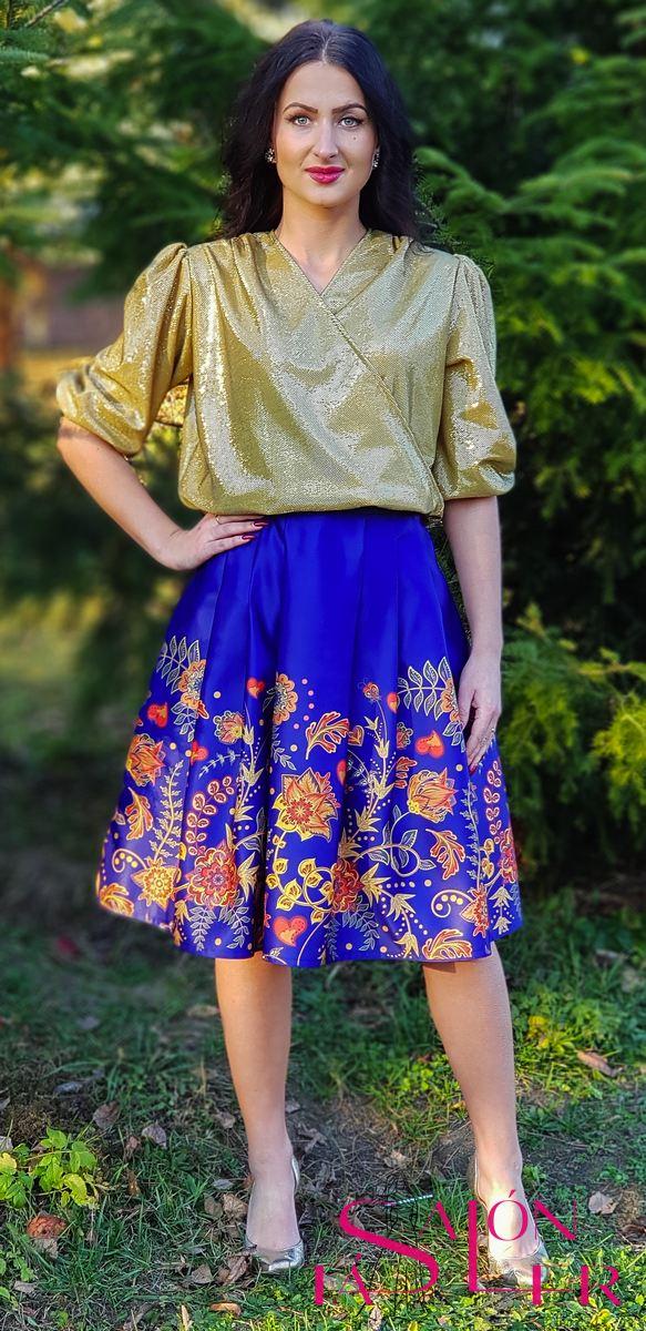 Midi sukňa jesenný motív z dielne KTD STYLE