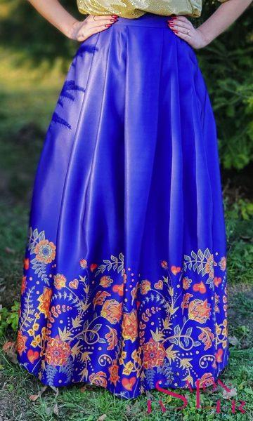 Maxi sukňa jesenný motív z dielne KTD STYLE