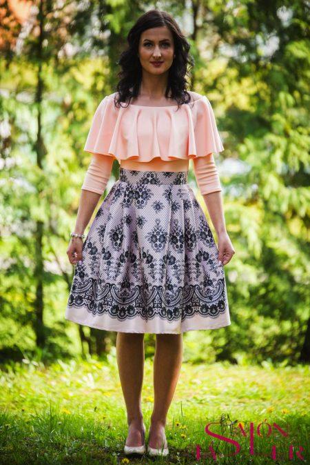 Midi sukňa marhuľová imitácia krajky z dielne KTD STYLE