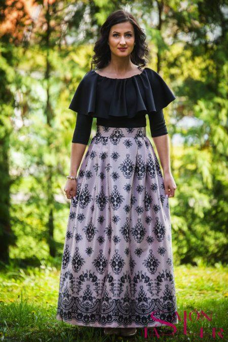 Maxi sukňa marhuľová imitácia krajky z dielne KTD STYLE