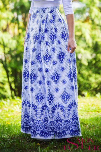 Maxi sukňa modrá imitácia krajky z dielne KTD STYLE