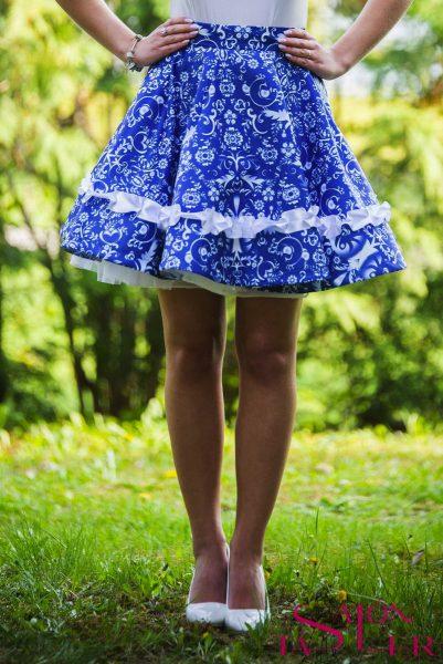 Mini kruhová sukňa MODRÉ VTÁČIKY