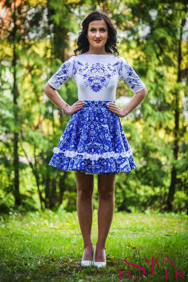 10dc30d219 Mini kruhová sukňa MODRÉ FOLK. VTÁČIKY z dielne KTD STYLE
