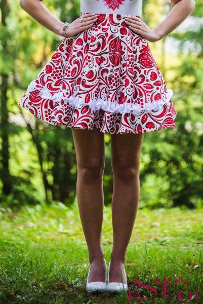 Mini KRUHOVÁ FOLKLÓRNA sukňa z dielne KTD STYLE