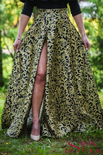Kruhová sukňa ZLATÉ BAROKO s preloženým rázporkom z dielne KTD STYLE