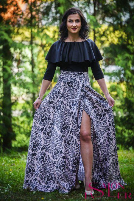 Kruhová sukňa SECESNÝ VZOR s preloženým rázporkom z dielne KTD STYLE