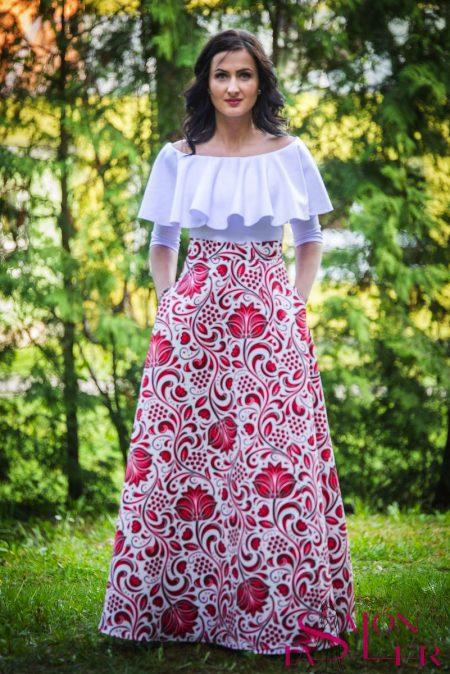 Kruhová FOLKLÓRNA sukňa ČERVENO-BIELA s preloženým rázporkom z dielne KTD STYLE