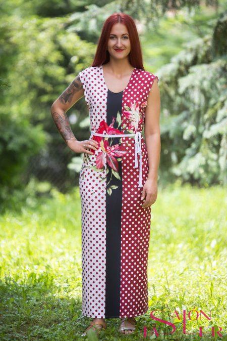 Rovné letné šaty Bordó z dielne KTD STYLE