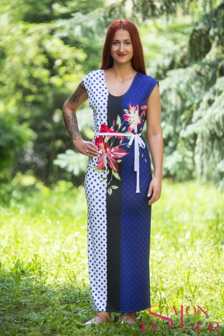 Rovné letné šaty Modré z dielne KTD STYLE