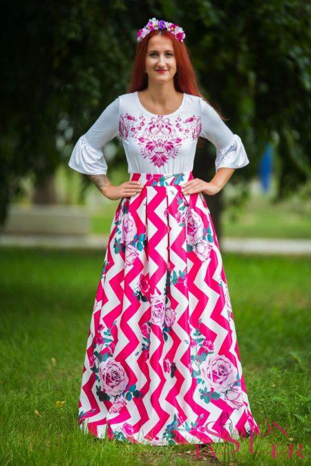 Maxi sukňa s ružovým chevron vzorom z dielne KTD STYLE