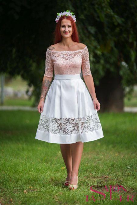 Midi sukňa s krajkou z dielne KTD STYLE