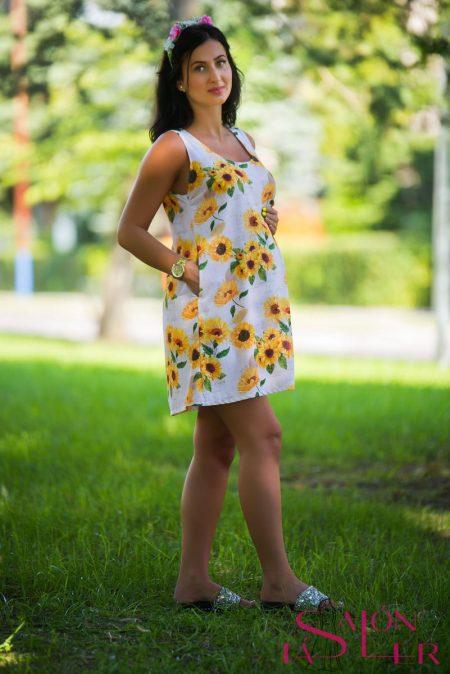 Áčkové šaty Slnečnice pre Tehu zdielne KTD STYLE