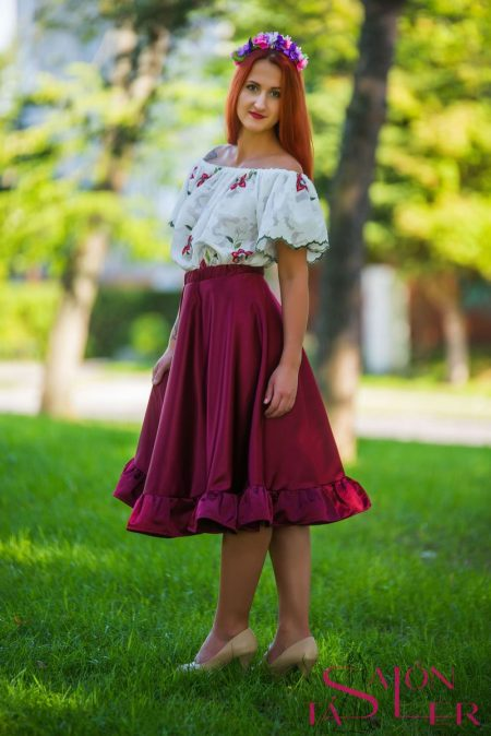 Midi sukňa s volánom z dielne KTD STYLE