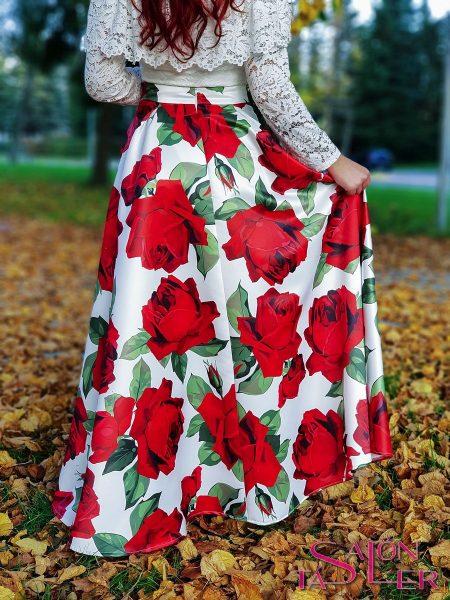 Kruhová sukňa ČERVENÉ KVETY z dielne KTD STYLE
