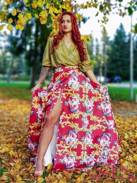 Kruhová sukňa ROKOKO s preloženým rázporkom z dielne KTD STYLE